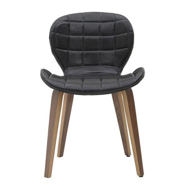 Καρέκλα Τραπεζαρίας Δερμάτινη Μαύρη Καπιτονέ Με Ξύλινα Πόδια