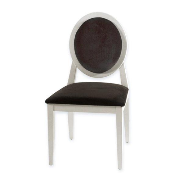 """Καρέκλα Τραπεζαρίας """"Luis"""" Ξύλινη Λευκή Λακαριστή Με Μαύρο Βελούδο"""