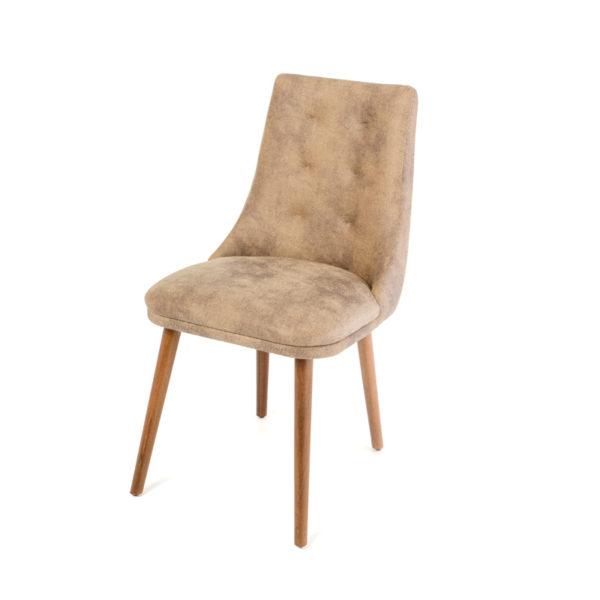 Καρέκλα Τραπεζαρίας Mε Τεχνόδερμα Μελανζέ Μπεζ/ Χρυσό Υ85