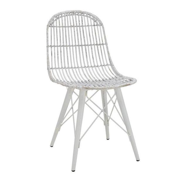 Καρέκλα Τραπεζαρίας Μεταλλική Ρατάν Λευκή/ Μπεζ
