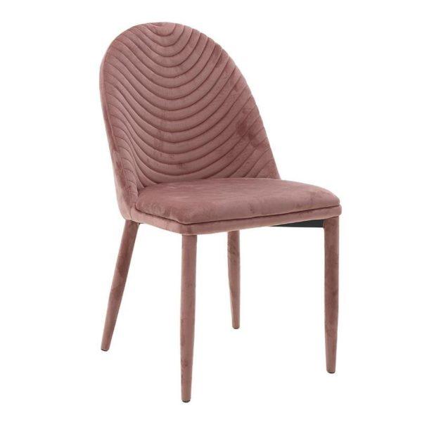 Καρέκλα Τραπεζαρίας Βελούδινη Εκάι Με Ανάγλυφη Πλάτη Και Πόδια Στο Ίδιο Χρώμα