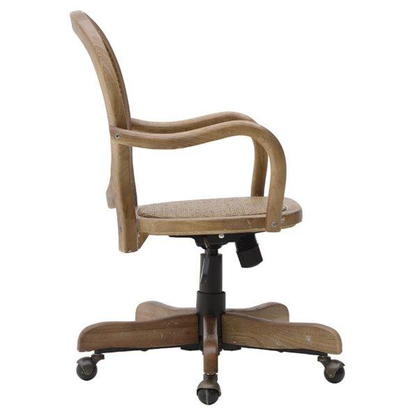 Καρέκλα Τροχήλατη Ξύλινη Με Βιεννέζικη Ψάθα Natural 45x42x88/42