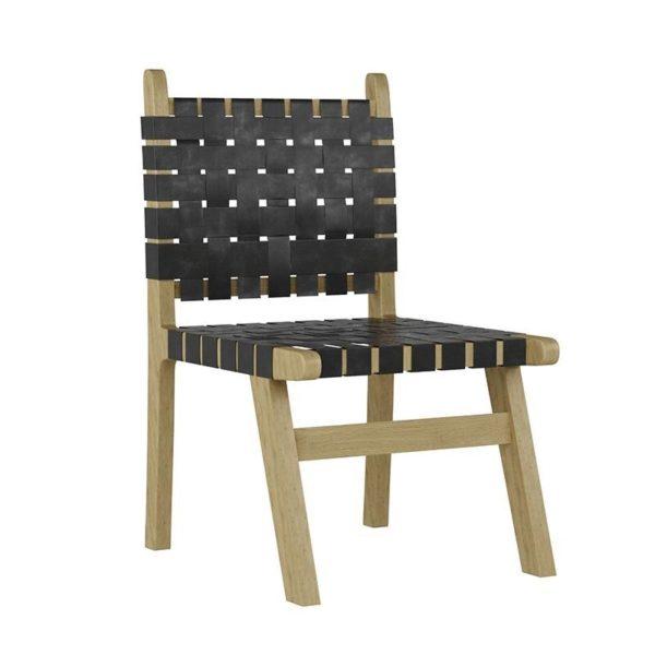 Καρέκλα Ξύλινη/ Δερμάτινη Natural/ Μαύρο Πλέγμα 52x52x90
