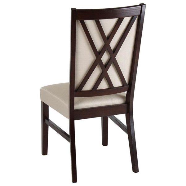 Καρέκλα Ξύλινη Καφέ Με Μπεζ Ύφασμα