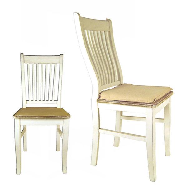 Καρέκλα Ξύλινη Λευκή Με Καφέ Κάθισμα Και Μαξιλάρι