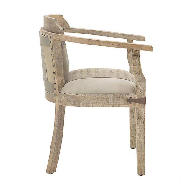 Καρέκλα Υφασμάτινη/ Δερμάτινη Μπεζ/ Καφέ Ξύλινα Μπράτσα