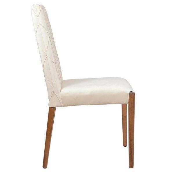 Καρέκλα Υφασμάτινη Εκρού Με Ξύλινα Πόδια