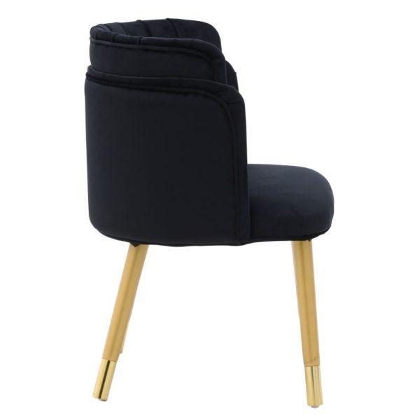 Καρεκλοπολυθρόνα Βελούδινη Μαύρη Με Χρυσές Λεπτομέρειες