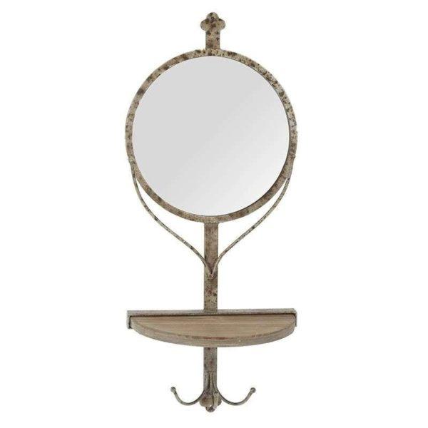 Καθρέπτης/ Κρεμάστρα Μεταλλικός Στρογγυλός Παλαιωμένος Με Ραφάκι Ξύλινο