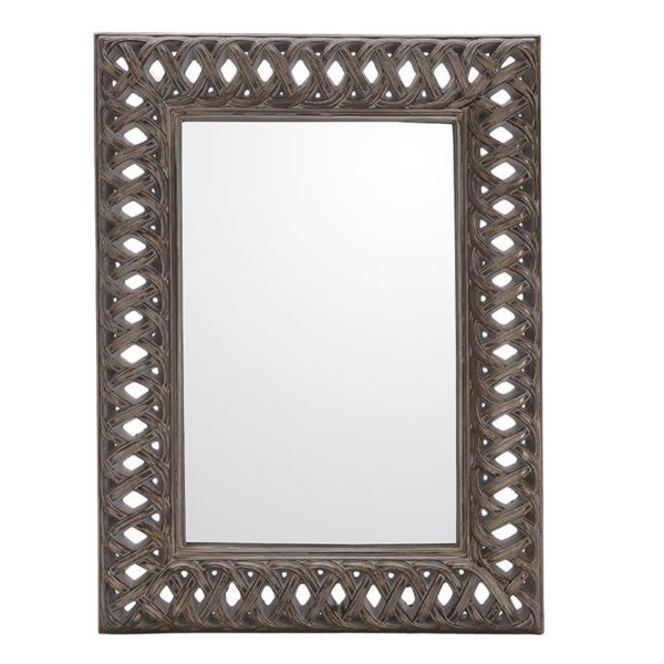 Καθρέπτης Ορθογώνιος Polyresin Αντικέ Ασημί Με Φαρδύ Σκάλισμα 93x123