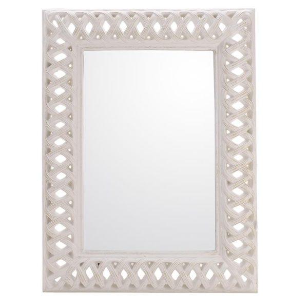 Καθρέπτης Ορθογώνιος Polyresin Αντικέ Λευκός Με Φαρδύ Σκάλισμα 93x123