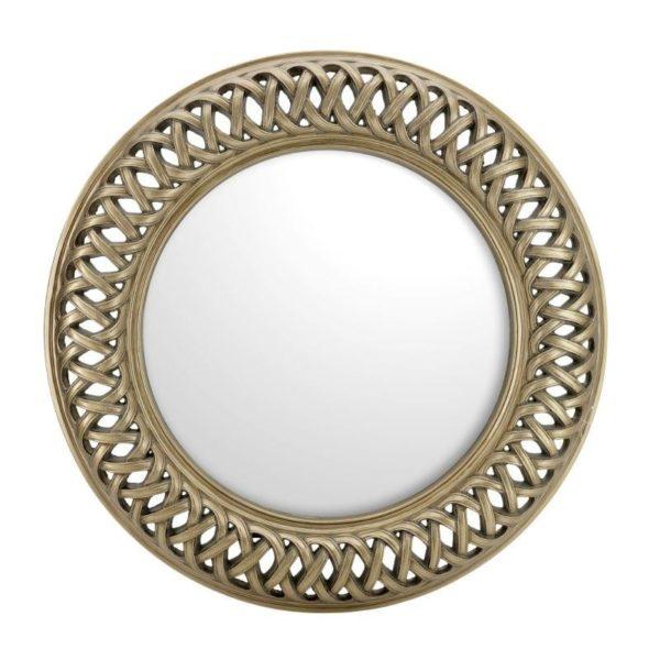 Καθρέπτης Στρογγυλός Polyresin Αντικέ Χρυσό Με Φαρδύ Σκάλισμα Δ113