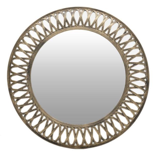 Καθρέπτης Στρογγυλός Polyresin Αντικέ Χρυσός Με Φαρδύ Σκάλισμα Δ76
