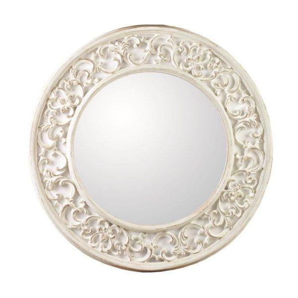 Καθρέπτης Στρογγυλός Polyresin Αντικέ Λευκός/ Ιβουάρ Με Φαρδύ Σκάλισμα Δ80