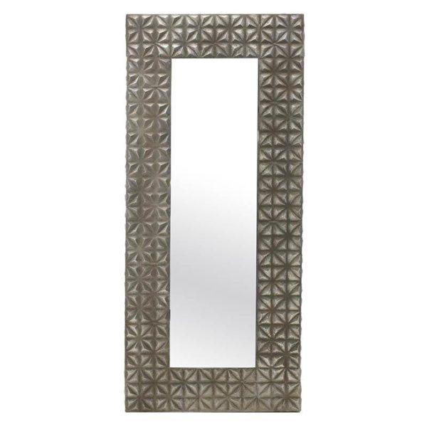 Καθρέπτης Τοίχου Μεταλλικός Με Φαρδιά Ασημί Κορνίζα Με Γεωμετρικά Σχέδια Μ66 Υ150