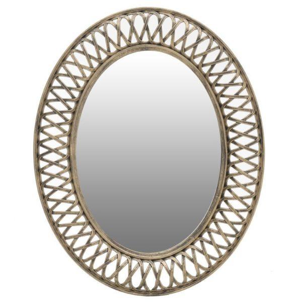 Καθρέπτης Τοίχου Οβάλ Polyresin Πλεχτός Χρυσός 61x76