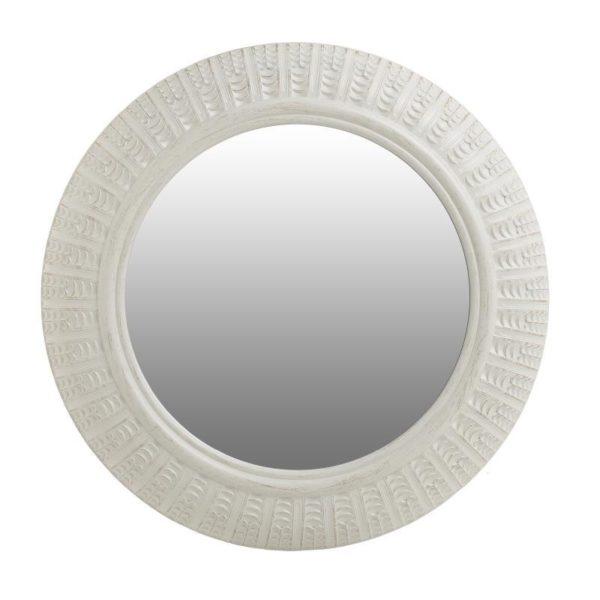 Καθρέπτης Τοίχου Στρογγυλός Λευκός Με Φαρδιά Κορνίζα Δ50