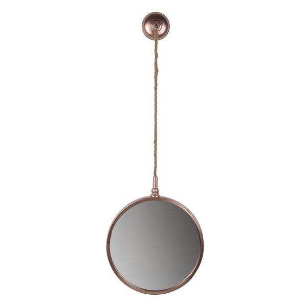 Καθρέπτης Τοίχου Στρογγυλός Μεταλλικός Με Σχοινί Σε Ροζέτα Υ110