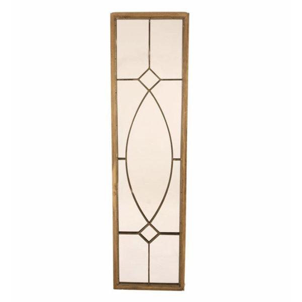 Καθρέπτης Τοίχου Ξύλινος Με Μεταλλικά Σχέδια Καφέ Μ46 Υ175