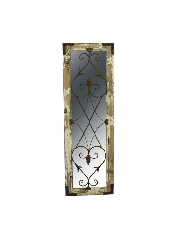 Καθρέπτης Τοίχου Ξύλινος 'Πατζούρι' Με Μεταλλικό Σχέδιο Και Παλαίωση Μ35.5 Υ110