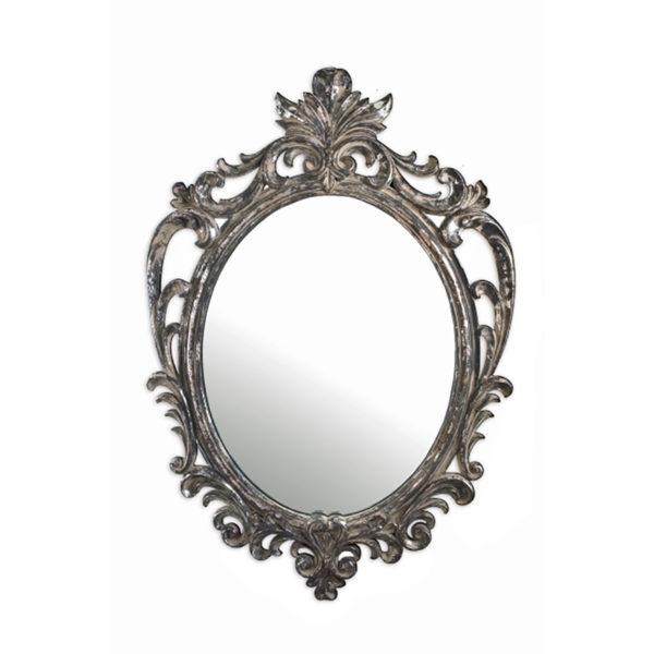 Καθρέπτης Vintage Οβάλ Με Σκαλιστή Κορνίζα Γκρι/ Ασημί 53x76.5, Σχέδιο Α