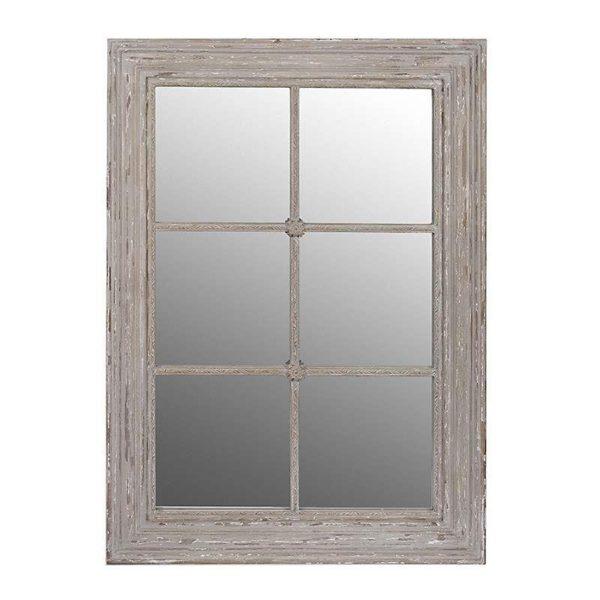 Καθρέπτης Ξύλινος Αντικέ Μακρόστενος Με Καϊτια Αντικέ Γκρι Με Παλαίωση 74x104