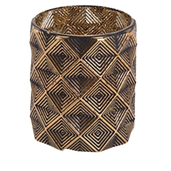 Κηροπήγιο Για Ρεσό Γυάλινο Χρυσό Με Σχέδιο 'Rhombus' Υ13