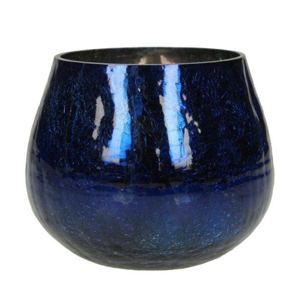 Κηροπήγιο Γυάλινο Βαθύ Μπλε 'Broken' Y10 | ZAROS