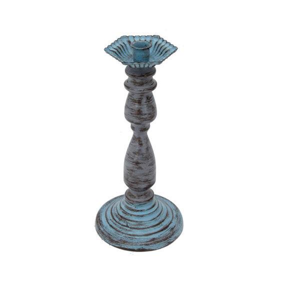 Κηροπήγιο Μεταλλικό Με Παλαίωση Μπλε/ Γκρι Υ32.5