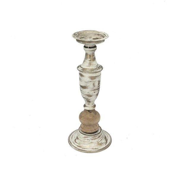 Κηροπήγιο Vintage Ξύλο/ Μέταλλο Με Λεπτομέρειες Αντικέ Εκρού/ Χρυσή Πατίνα Υ35