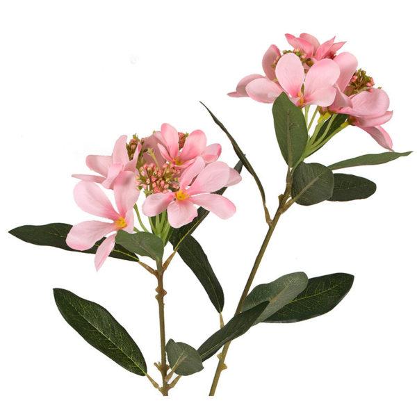 Κλαδί Υφασμάτινο Με Άνθη Πικροδάφνης Ροζ Υ77