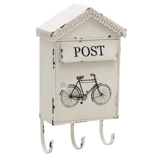 """Κλειδοθήκη/ Κρεμάστρα Μεταλλική Λευκή Με Παλαίωση Vintage """"Post"""""""