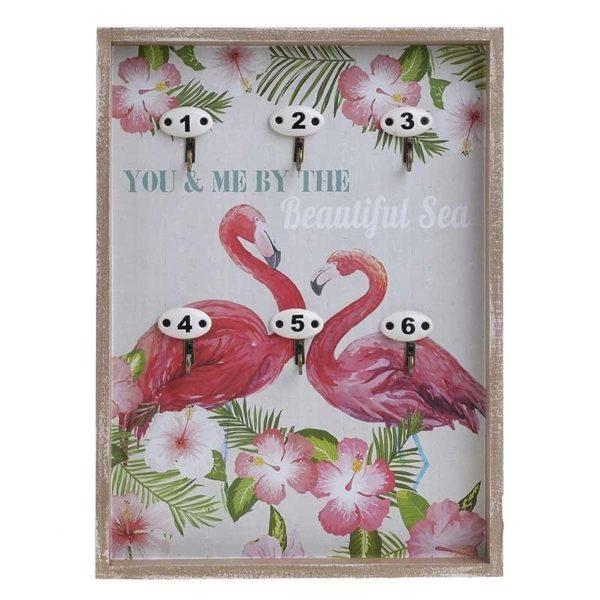 Κλειδοθήκη Ξύλινη 6θεσια 'Flamingo B'