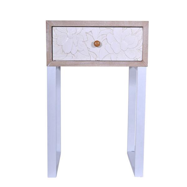 Κομοδίνο Ξύλινο Μπεζ Με Συρτάρι Με Λευκά Ανάγλυφα Λουλούδια 'Relief' Μ45 Υ72