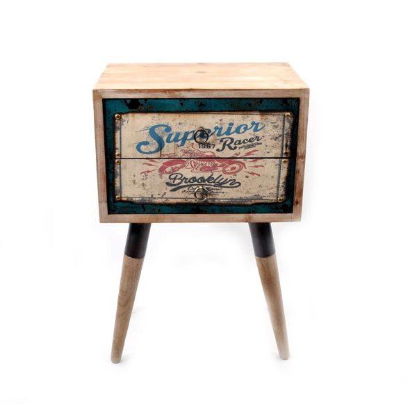 Κομοδίνο Ξύλινο Vintage Με 2 Συρτάρια, Πολυχρωμία ''Garage'' 45x31x70