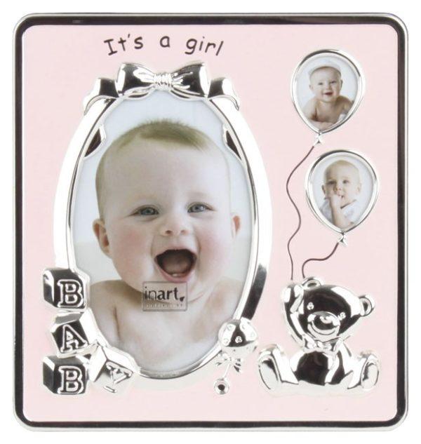 Κορνίζα Παιδική Μεταλλική Από Ροζ Σμάλτο 3 Θέσεων 18x2x19 Inart