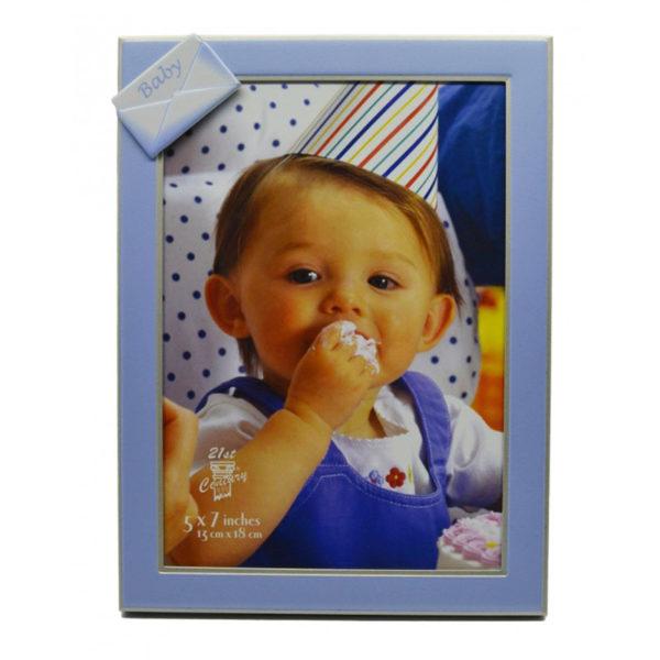 Κορνίζα Παιδική Μεταλλική Με Γαλάζιο Φάκελο ''Baby'' Για 10x15