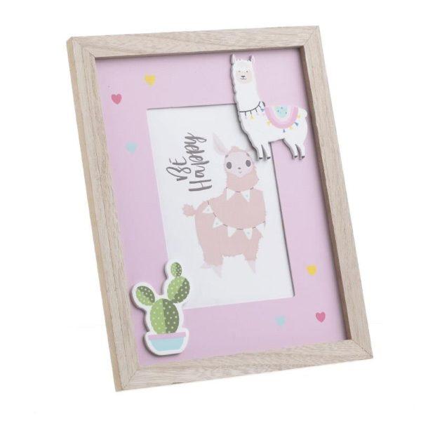 Κορνίζα Παιδική Ξύλινη 'Λάμα' Ροζ/ Natural Για 10x15 Inart