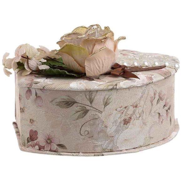Κοσμηματοθήκη Floral Ύφασμα Με Τριαντάφυλλα 22x16.5x9.5