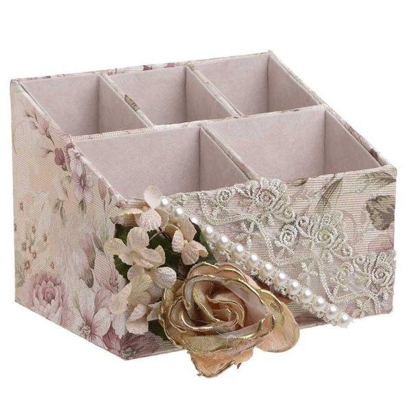 Κοσμηματοθήκη Floral Ύφασμα Με Τριαντάφυλλα 5 Θέσεων 22x20x14
