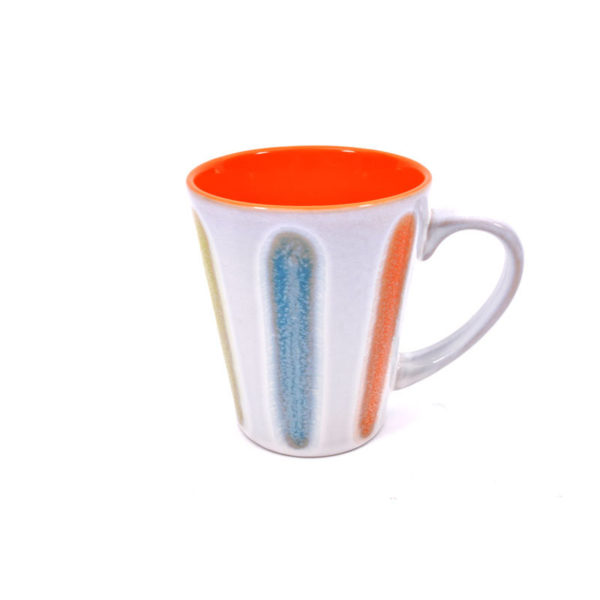 Κούπα Πορσελάνινη Με Πολύχρωμες Ζωγραφισμένες Ρίγες Και Πορτοκαλί Εσωτερικό