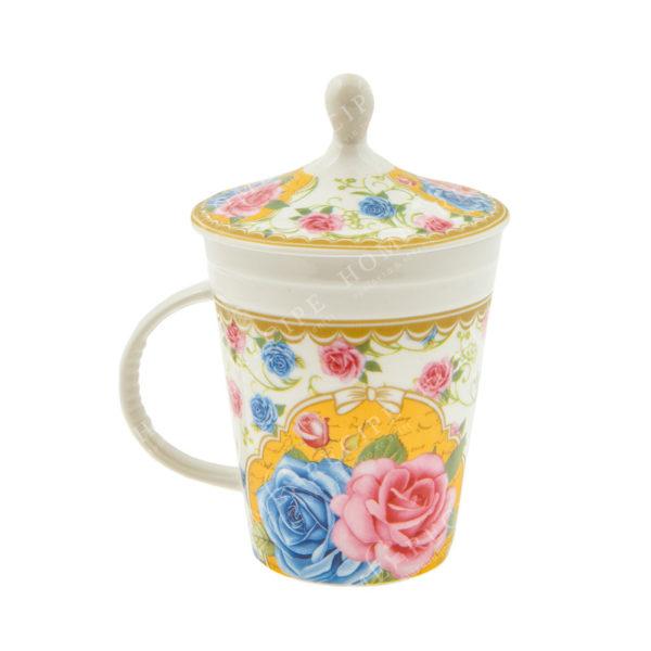 Κούπα Πορσελάνινη Ρομαντική Με Καπάκι Ροζ/ Γαλάζιο/ Χρυσό Λουλούδι 6