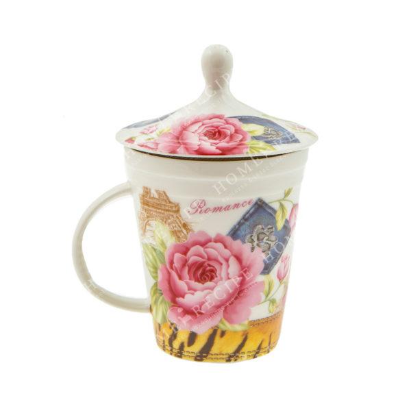 Κούπα Πορσελάνινη Ρομαντική Με Καπάκι Ροζ Λουλούδι 1