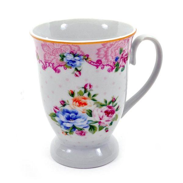 Κούπα Ρομαντική Πορσελάνινη Με Ροζ Λουλούδι Και Πουά Σχέδιο, Σετ Των 2