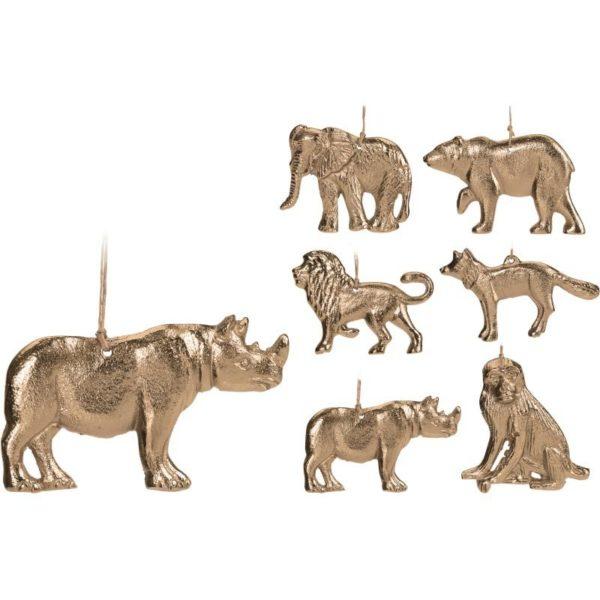 Κρεμαστά Στολίδια Αλουμίνιο Χρύσα Ζώα 'Safari' Υ10, Σε 6 Σχέδια | ZAROS