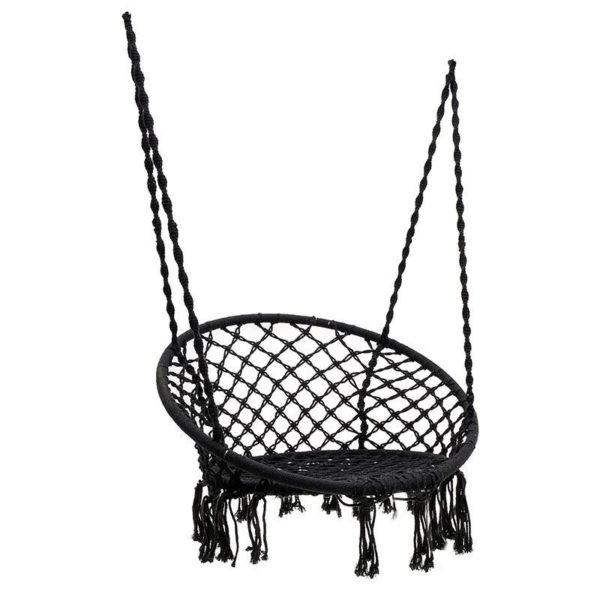 Κρεμαστή Πολυθρόνα Macrame Υφασμάτινη Γκρι 60x80