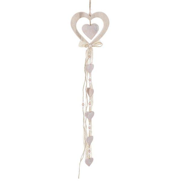 Κρεμαστό Διακοσμητικό Καρδιά Ξύλινο Με Κορδέλα, Natural Beige/ Ροζ Y70