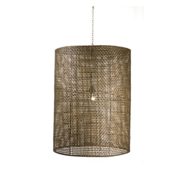 Φωτιστικό Οροφής Κυλινδρικό Rattan Καφέ Δ60 Y80 | ZAROS