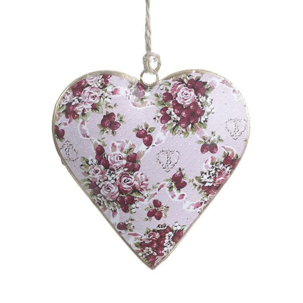 Κρεμαστό Μεταλλικό Διακοσμητικό Καρδιά Με Ροζ/ Κόκκινα Τριαντάφυλλα