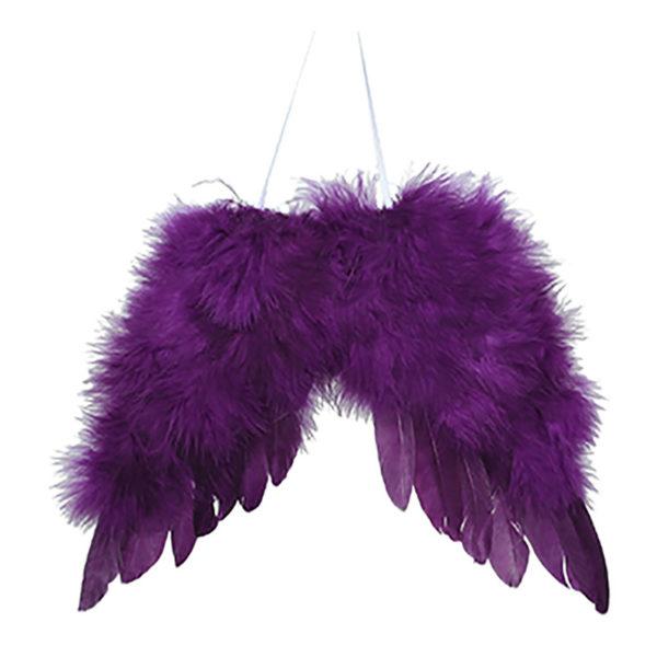 Κρεμαστό Στολίδι Με Φτερά Αγγέλου Μωβ Πουπουλένια L